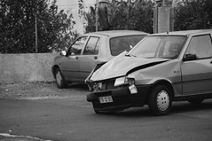78 - Wrecked (Smart_AlphaZ) Tags: blackandwhite bw portugal monochrome photography spring noir accident streetphotography colorless wrecked bnw greyscale wreckedcars greyworld nocolor colorlessworld 365dayschallenge monochromeworld bwsociety 2015project