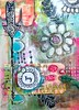 Art Journal page by Roben-Marie Smith (Roben-Marie) Tags: flowers colorful mixedmedia painted fabric arrows stitching stenciled artjournaling doodled layerd robenmarie