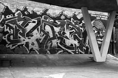 Great Baddow graffiti (And Smith) Tags: blackandwhite vineyards chelmsford greatbaddow fujifilmhs50exr