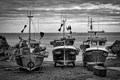 Cadgwith fleet. (Mox Pix) Tags: monochrome coast boat fishing marine cornwall harbour lizard maritime beached fleet tackle tanker cadgwith 700d