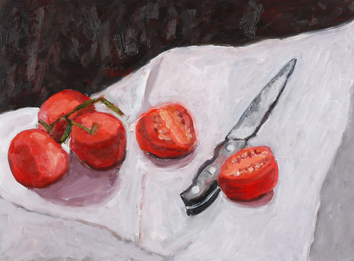 "Knife and Tomatos - oil on board 16"" x 20"" $800"