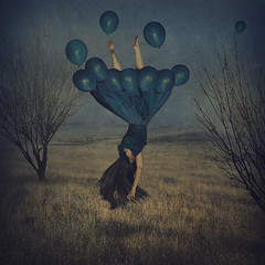 the guidance of fragile dreams (brookeshaden) Tags: blue selfportrait art girl field fairytale dark balloons photography flying dress surrealism balloon foggy levitation storybook whimsical fineartphotography conceptualphotography brookeshaden