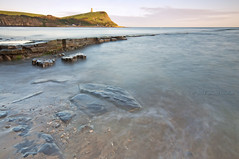 The Last Light (AbhijeetVardhan) Tags: ocean longexposure england cliff tower coast twilight nikon rocks waves dorset jurassic kimmeridge topaz adjust d90 denoise clavell