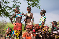 Hamer girls waiting for the bulls near Turmi, Omo Valley, Ethiopia
