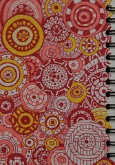 Summertime (BKHagar *Kim*) Tags: red orange yellow pen circle notebook drawing circles doodle marker draw circular drawingjournal bkhagar