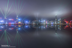 Prismatic [] (t3cnica) Tags: city longexposure reflection misty architecture clouds hongkong glow harbour foggy cityscapes laser dreamy lightshow ifc dri tsimshatsui victoriaharbour avenueofstars symphonyoflights dynamicrangeincrease exposureblending digitalblending fauxreflection hongkongifc