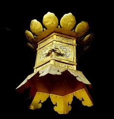 Gold and black, lantern, Kitano Tenmangu Shrine, Kyoto, Japan, July 2014 (Judith B. Gandy) Tags: japan kyoto temples lanterns shinto shrines tenmangu kitanotenmangushrine shintoshrines kitanotenmang michizanesugawara studyshrine