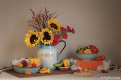 Still life with sweet peppers (Phyllis Freels) Tags: flowers blue red stilllife orange green vegetables yellow vintage availablelight bowl sunflower pitcher tabletop carnations enamelware sweetpeppers jalepenopeppers phyllisfreels