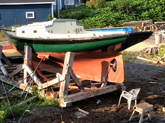 Summer 3 (halifaxlight (mostly off until August)) Tags: canada novascotia lunenburg boat repairs woodenboat cradle chair coffeebreak