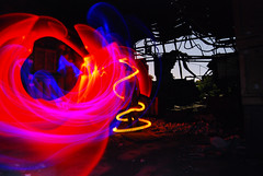 Spiral Abandoned Crate Room Light Painting (jna.rose) Tags: china wood light urban vortex lightpainting abstract abandoned glass colors silhouette spiral lights nikon colorful factory room urbandecay indoor warehouse urbanexploration slowshutter plates crates nikond80