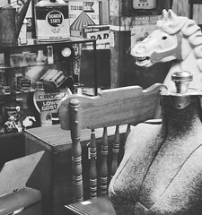 Horse headed woman, antique mall, central OH (gobluecsa) Tags: instagramapp square squareformat iphoneography uploaded:by=instagram moon