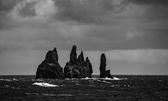 when the deep sea monsters rise (lunaryuna) Tags: sea bw seascape monochrome landscape coast blackwhite iceland vik legends lunaryuna monoliths seastacks reynisfjara reynisdrangar southiceland vkmrdal petrifiedtrolls legendarylandscapes