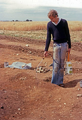 Spong Hill 1979, watering the garden (robmcrorie) Tags: cambridge archaeology water cemetery urn garden hill norfolk pit spray hills catherine burial dig feature cremation excavation spong weedol anglosaxin