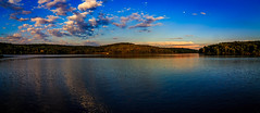 Wide Angle Panorama (david_sharo) Tags: trees panorama moon water clouds landscape lakes wideangle polarizer moraine davidsharo