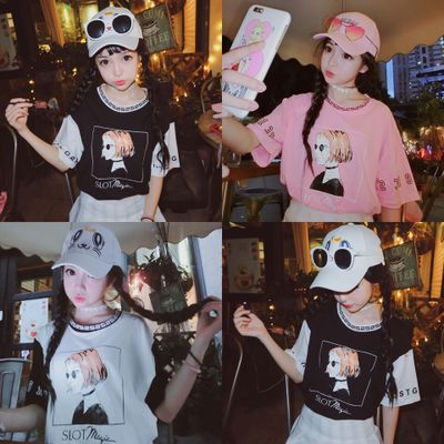 Summer school of Korean version of the Harajuku Style cartoon printed girlfriends couple models t-girls short sleeve t-shirt, jacket