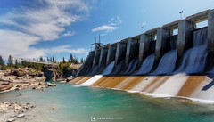 Seebe Dam (landon_ketterer) Tags: seebe dam rural urban architechture manmade structure nature outside natural light landscape landmark wide angle alberta ab canon canada canadian rockies mountains river shoreline horizon shadow cloudscape cloudy sky skyline colorful color rocks exposure explore adventure journey happiness happy love passion