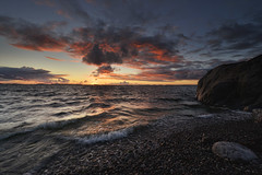 Moment after sunset (p.hakala.p) Tags: hanko hang suomi finland aftersunset sunset nightatthebeach darkwater sky awesomesky ceazysky clouds sea seascape rocks stones