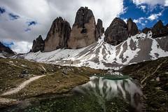 Amazing Dolomites (++sepp++) Tags: italien schnee italy snow mountains reflection landscape italia cloudy it landschaft spiegelung altoadige gebirge wolkig dolomiten trecime dreizinnen trentinoaltoadige auronzodicadore trentinosdtirol