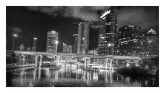 Downtown (edit) (Michel Curi) Tags: city bridge urban blackandwhite bw water monochrome architecture night buildings reflections tampa lights arquitectura edificios downtown florida structures ciudad nighttime fl hillsborough estructuras monomonday plattstreetbridge lovefl