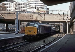 45124, Birmingham New Street, August 1986 (David Rostance) Tags: 45124 class45 peak birmingham newstreet railwaystation rotunda