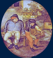 The pedlar praises his wares (nets, jew's harps & flutes) (petrus.agricola) Tags: pieter bruegel younger proverbs flemish netherlandish painting tondo