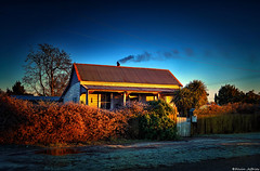 Morning light catches the Stationmasters Cottage (Kevin_Jeffries) Tags: cottage historical stationmaster rural house morning light sunrise kevinjeffries frost smoke chimney railway warmth winter new newzealand color colour architecture building rustic