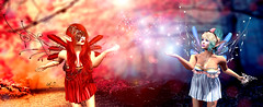 Two sides (meriluu17) Tags: zenith fairy fairytale fairies faes fae fantasy sparkle shine dust fairydust outdoor people wings wing red blu redblue power magical mystical miracle elf elven