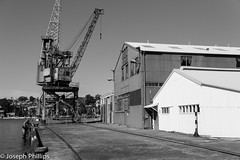 The Old Pier (breakfast_pizzas) Tags: the old pier oldpier theoldpier ship shipping building shipbuilding crane marine maritime marinearchitecture black white blackandwhite warehouse sydney sydneyharbor harbor harbour australia canon canon60d canonphotography cockatoo island cockatooisland