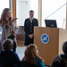 Barrels by the Bay - Grassroots Manager Jennifer Herzog of the Chesapeake Bay Foundation, left, standing with U.S. Naval Academy Midshipman 3rd Class Megan Rosenberger, goes over a student scavenger hunt during the announcement of Barrels by the Bay at the Chesapeake Bay Foundation headquarters in Annapolis, Md., on March 23, 2015. As a 2015 Clinton Global Initiative University Scholar, Rosenberger, of Pittsburgh, Pa., was awarded $5,000 in funding for her project, in which 22 donated Coca-Cola syrup barrels will be painted by students from Anne Arundel County schools.