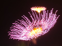 Flowers born of fire (AmikLanfranco) Tags: pink flowers light sky yellow night feast dark fire gold born darkness bright fireworks explosion july firework malta celebration explosions reactions chemicals chemical reaction sacro pyrotechnics sliema 2014 cuor