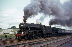 """45073 + 45156 at Skipton, Yorkshire.  28th July 1968.  """"Farewell to B.R. Steam"""" rail tour (photo 5 of 7) (Brit 70013 fan) Tags: tour br yorkshire engine rail steam british 1968 railtour railways steamengine skipton britishrailways black5 45073 45156"""