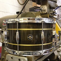 This turned out to be a beast! 8X14 brass plate, black brushed patina with a couple of brass stripes. You can hear this being beaten by @robigonz of #aplacetoburystrangers. They are on tour in Europe. Don't miss them!! #qdrumco #brass #snare