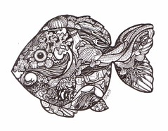 Mister Phishie Fish (artyshroo) Tags: sea fish seaside doodle penink shroo zentangle wwwartyshrooblogspotcouk artyshroo