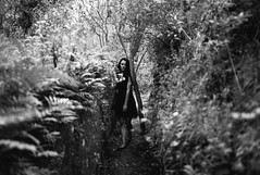 girl on path (gorbot.) Tags: blackandwhite rangefinder roberta mmount leicam8 voigtlander28mmultronf19 vscofilm riservanaturaleorientatapantalica