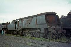 34070 + 3612  Barry [Woodhams] scrapyard, U.K.  August 1967 (Brit 70013 fan) Tags: br steam barry 1967 british scrapyard railways steamengine manston britishrailways bulleid woodham barrydocks 3612 bulleidpacific 34070 woodhambros