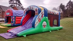 Pirate themed 28x10 Fun Run. £90 per hire. 28ft long fun run with bouncy castle with biff bash and a 6ft platform slide built in.