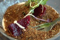 earth - pumpernickel beet ranch salad (Justin van Damme) Tags: ranch mushroom dinner restaurant fork ground bowl dressing greens garlic popup beet pumpernickel saladr