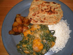 Pumpkin Saag; Basmati Rice; Poppy-Seed Cornmeal Roti; Five-Spice Pear Chutney (VP) (dimsimkitty) Tags: veganomicon