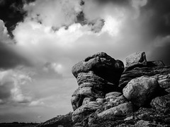 Stanage Edge (glen.chappell) Tags: bw mountains clouds landscape countryside rocks artistic dramatic hills cumulus hillside iphone