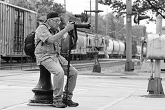 George. AKA 'Hey Weimer' by his wife. (psbell2) Tags: illinois candid amtrak peoplewatching downersgrove sonyglens