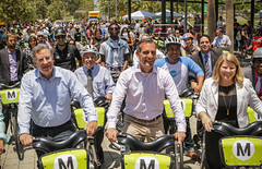 Mayor Garcetti at the launch of Metro Bike Share in downtown Los Angeles
