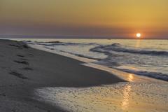 sunrise (giolor89) Tags: sky italy orange sun sunrise reflections see sand italia mare alba basilicata cielo footsteps riflessi holydays goldenhour vacanze arancione orme sabbia crepuscolo impronte metaponto