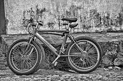 textural study of two bicycles (Pejasar) Tags: bw blackandwhite bicycle texture wall twobicycles duo antigua guatemala transportation