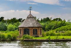 Beside the River.... (+Pattycake+) Tags: outdoor architecture building serene water bure norfolk broads uk thatch weathervane clouds sky summer green grass riverbank cottage