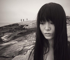 Echo (chinese johnny) Tags: iphone iphoneonly iphone6 bw blackandwhite beautiful beauty beautifulgirl bnw monochrome chinese chinadoll chinagirl chinesegirl ambient sad dusk intimate instagram portrait photoshoot hair location longhair bangs vscocam melancholy moody artisawoman