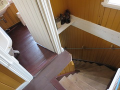 Steep stairs in the Doctor's House, makes me think of M. C. Escher artwork, Hesteyri, Hornstrandir Nature Reserve, Iceland (Travel writer at KristineKStevens.com) Tags: iceland hesteyri hornstrandir stair stairs escher