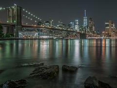 Brooklyn Bridge/Manhattan (BjrnP) Tags: new york city longexposure bridge light newyork reflection water skyline architecture brooklyn river manhattan explore le brooklynbridge hudsonriver bjrn peder colorsnightshot bjrkeland