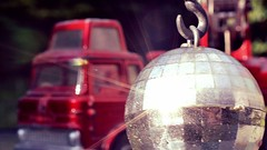 In Like a Glitter Ball (mitchell_dawn) Tags: bedford lorry crane glitterball discoball mobilecrane cantilevercrane dinkytoys jonesfleetmaster red 1960s 1970s vintage toys sixties seventies 60s 70s weightlifting