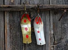 IMG_0054 (www.ilkkajukarainen.fi) Tags: janialatalo folkart outsiderart kansantaide lohi pelti lappu muonio suomi europa eu uistin viehe kalastus urheilu sport fishing fiske lust spoon red hook