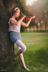 """violin music"" (salas-3) Tags: beautiful portrait girl music musician fineart pose tree garden evening photography nikon 50mm summer green violin story tellingstory"